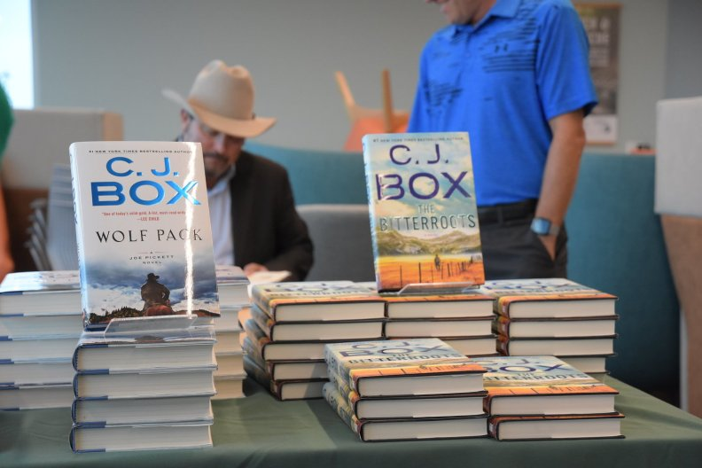 CJ Box speaks at at the Douglas County (Colorado) Library on THE BITTERROOTS tour in 2019